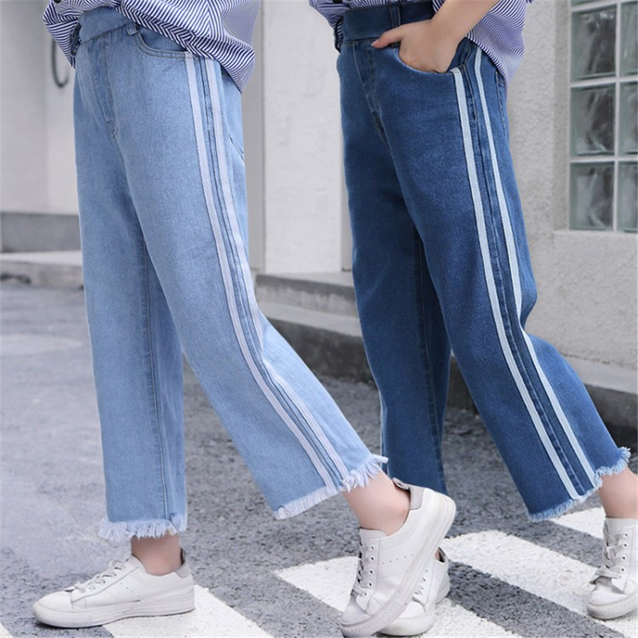 Girls 4-12 Years Spring Autumn Jeans Denim Loose Pants Casual Fashion Raw Edges Side Double Stripes Elastic Waist Jeans Trousers 1