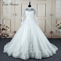 C V Vestidos De Noiva Ball Gown Wedding Dress Long Sleeves Wedding Dresses Pearls Tulle Vestido