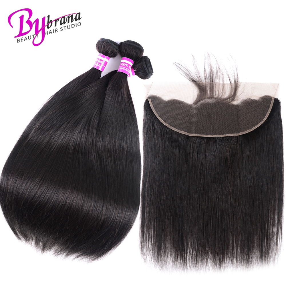 Indian Straight Hair Bundles With Frontal Natural Color Human Hair 18Inches Lace Frontal With Straight Bundles 22 24 26 Bybrana (1)_