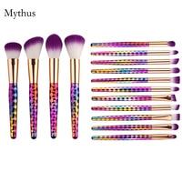 New Design 15Pcs Rainbow Makeup Brushes Set Foundation Cream Powder Colorful Diamond Handle Eyeshadow Cosmetic Brush Kit M 15