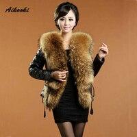 Aikooki Women Winter Imitation Luxury Sheep Skin Fox Fur Coat Warm Fox Fur Trim Collar Fashion