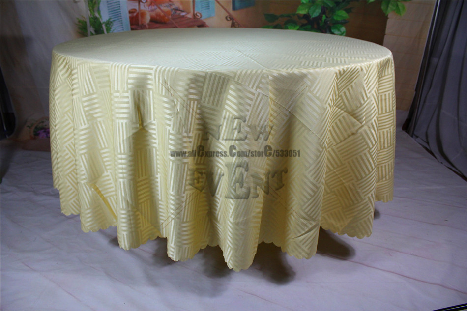 New Design For 2016 Champagne Color Strip Jacquard Tablecloth/Table Linen  For Wedding Party Home