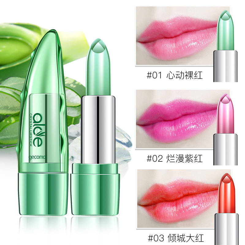 Moisturizer Aloe Lipstick Makeup Lip Care Batom Cosmetics Jelly Clear Transparent Change Red Lipsticks for Women Make Up Natural in Lipstick from Beauty Health
