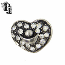 Rhinestone Heart Snap Charms Silver Money Gold Ingot Snap Buttons Jewelry Luck peace Wealth Sign Fortune Amount SJSB1270