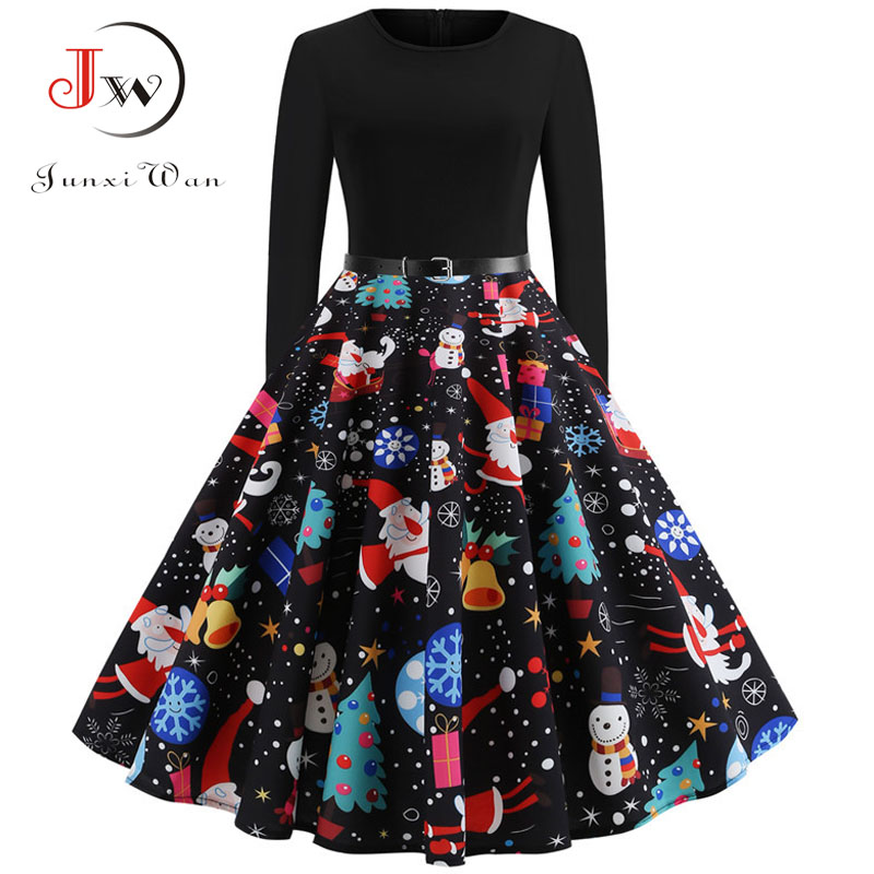 Chrismas Dress Women Casual Print Vintage Dress Long Sleeve Elegant Fashion Party Dresses Plus Size Winter Women Clothing