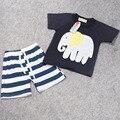 2016 novo verão Europeu e Americano de comércio exterior seção meninos T-shirt listrado calções terno printin