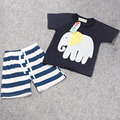 2016 summer new European and American foreign trade section boys T-shirt striped shorts suit printin