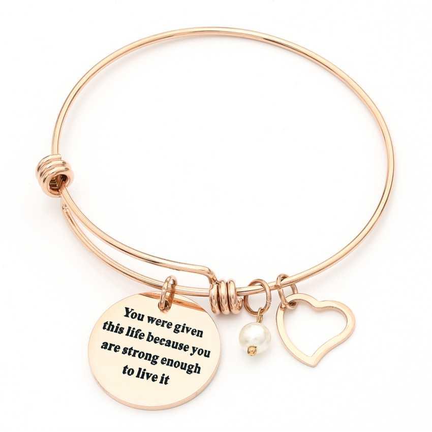 20d78f207be56 Silver Rose Gold Heart Charm Bangle Pearl Bracelets Friendship Spiritual  Love Jewelry for Women Girls Mom Sister