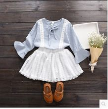 2017 Sweet Girl Spring Summer Clothing Set,plaid Long Sleeved Shirt + Lace Skirt,kids Girls 2pcs Clothes Suits