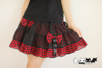 Princess Sweet Lolita Skirt Summer New Red And Black Little PUNK Wind Detachable Bow Chiffon Skirt