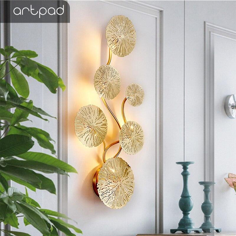 Artpad 구리 광택 골드 로터스 리프 벽 램프 빈티지 레트로 침대 옆 거실 아트 장식 홈 조명 벽 Sconces G4 전구