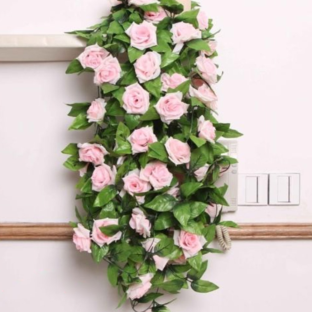 Silk Cloth Artificial Flowers Fake Simulation Red Pink Champagne Rose Ivy Vine Hangings Garlands for Home Wedding Decoration