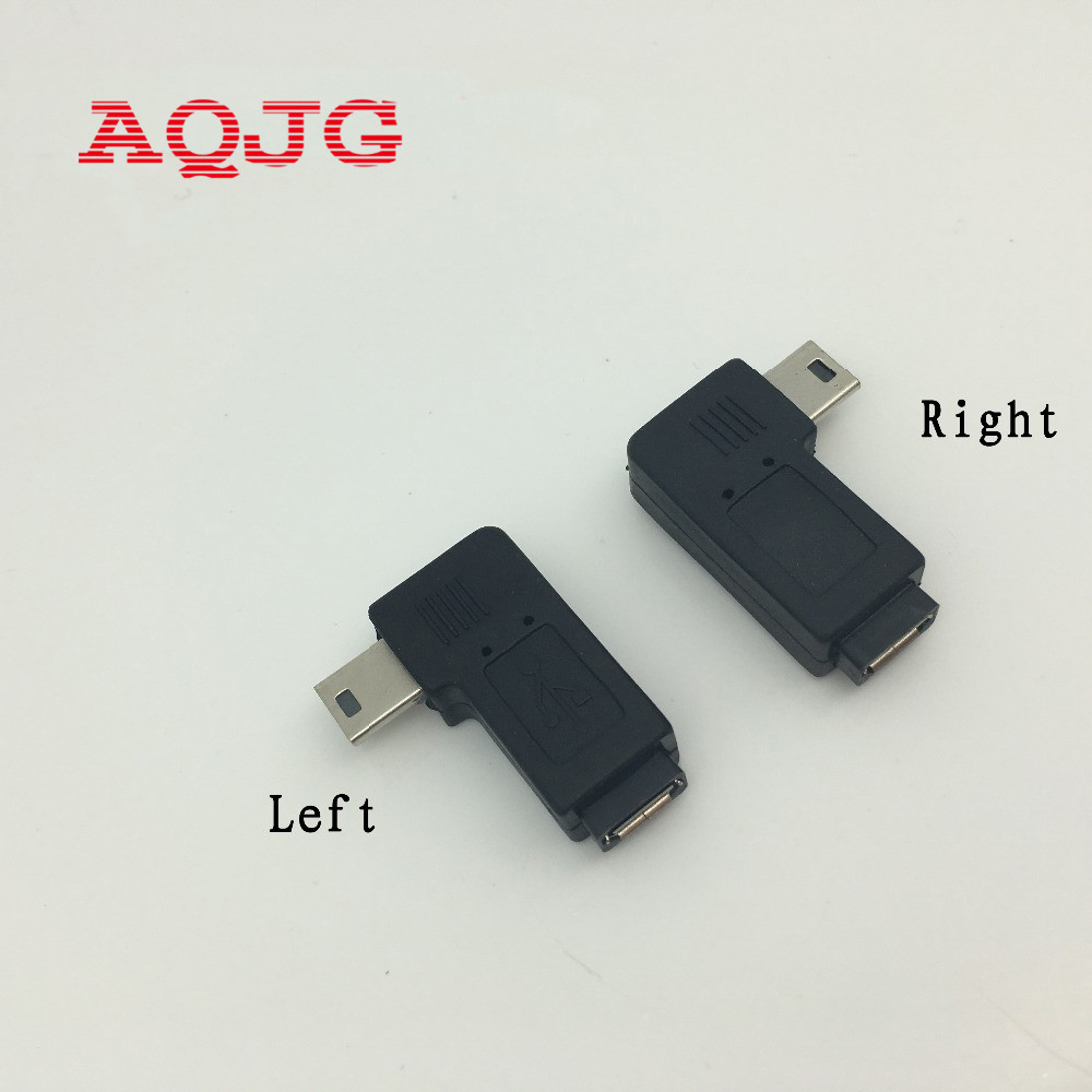 1pair 90 degree right + left angle mini 5pin USB B male to micro usb female plug connector adapter converter AQJG 4pcs gold plated right angle rca adaptor male to female plug connector 90 degree