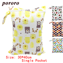 Pororo 1PC Fashion Prints Washable Reusable Wet Bag Single Pocket Cloth Handle Diper Nappies Bags 30*40cm Wholesale