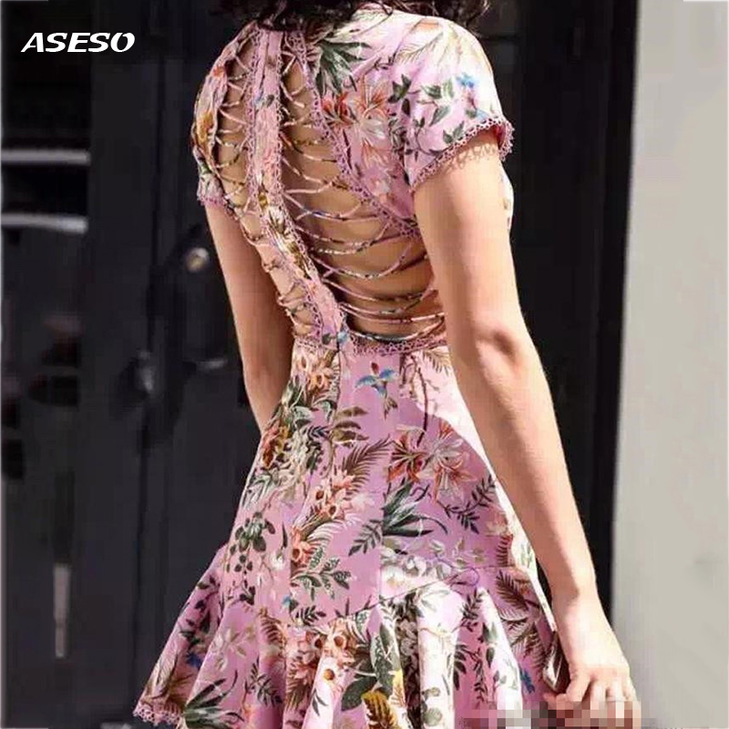 2017 mujeres sexy love limones rosa vestidos backless dress holiday party mini v