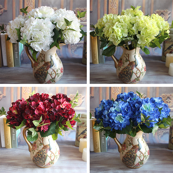 1 Bouquet Artificial Silk Peony Flower Wine Red Rose Floral Fake ...