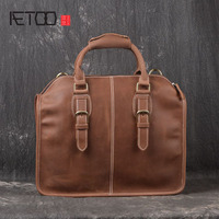 AETOO The Latest Retro Fashion Trendy Briefcase First Layer Of Cowhide Frenzy Handmade Bag Shoulder Oblique