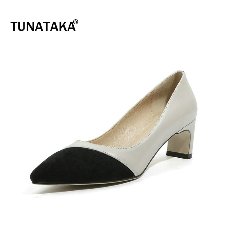 Genuine Leather Comfort Square Toe Pointed Toe Woman Lazy Pumps Fashion Mixed Color Dress High Heel Shoes Woman Apricot Gray