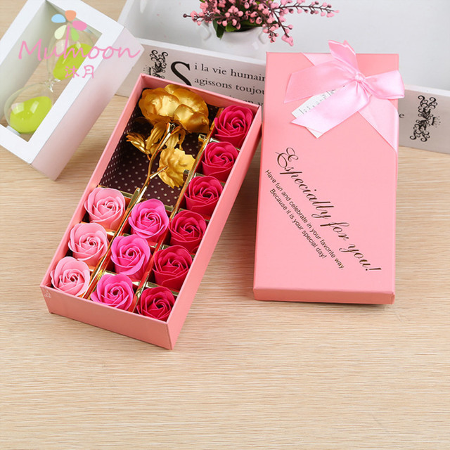 12 PCS Box Soap Flower And Gold Leaf Roses Birthday Gift Girlfriend Practical Creative Romantic