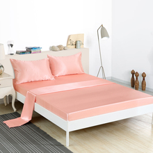 Luxury Satin Silk Fitted Sheet Pillowcase Bedding Set American Style 3/4Pcs Bed Linens Twin Queen King Size Bedding Sets