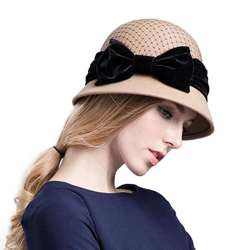 65c625288d1 ... FS Winter Wool Hat For Women Fedora Vintage 100% Felt Hats With Handmade  Bow Ladies ...