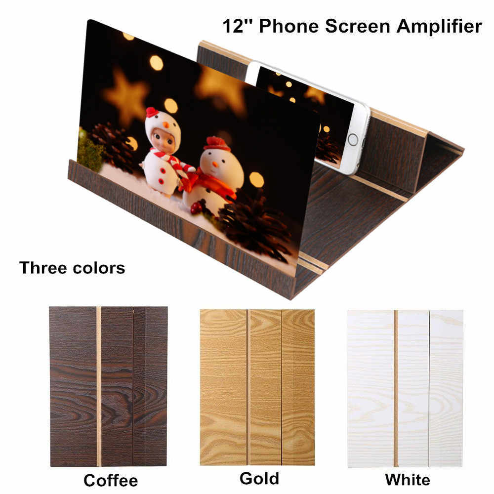 12 Inch  Desktop Fold Wood Bracket Mobile Phone Screen Magnifier 3D HD Video Amplifier Smartphone Holder Stand Stereoscopic