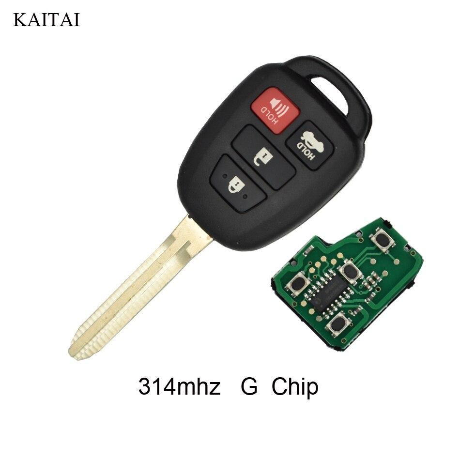 KAITAI 5 шт./лот 314 мГц с G чип Автозапуск автомобилей брелок для TOYOTA Camry 2012 2013 2014 С 3 + 1 кнопки TOY43 лезвие