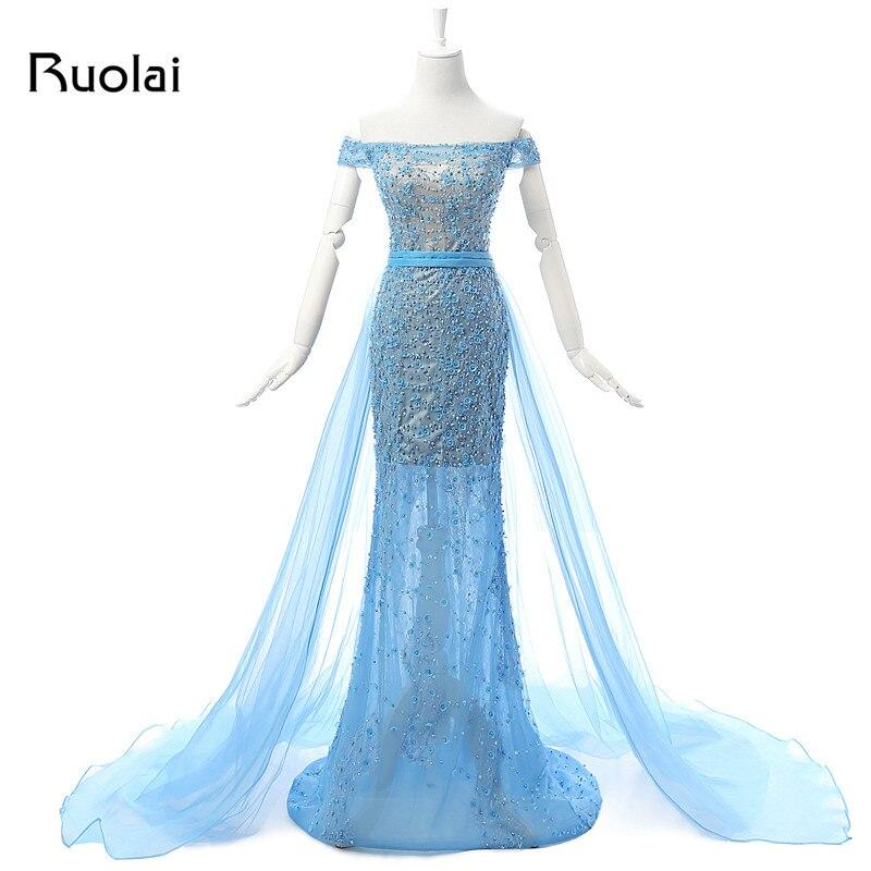 a300bcc6189e2 Yeni Real Photo Tekne Boyun Mavi Boncuklu Korse Mermaid Tül Dantel Abiye  Uzun Örgün Parti Balo Elbise robe de soiree ASAE3