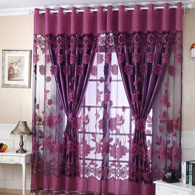 Elegant 250cm*100cm Flower Curtain Transparent Window Curtains Screening For Living  Room Children Bedroom Room Divider