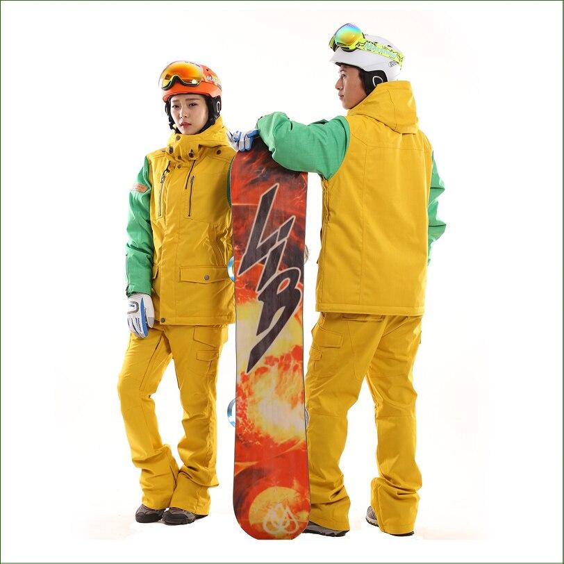 KWJ18N Waterproof Sportwear font b Men b font and Women Snowboard Clothing Set Ski Suit Winter