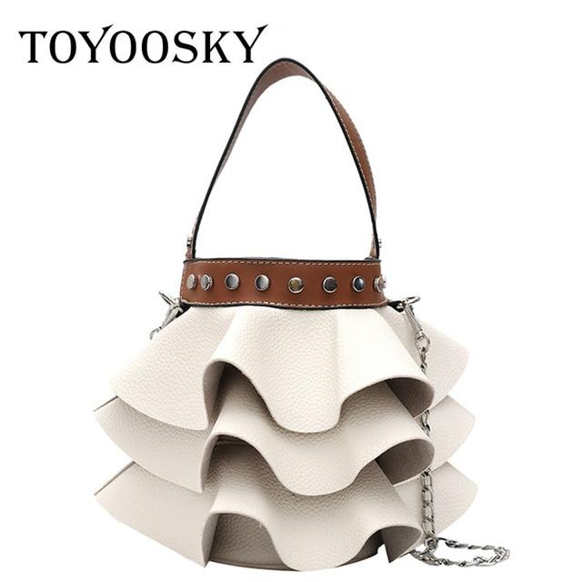 TOYOOSKY Women New Design Bucket Shoulder Stylist Composite Crossbody Round  Messenger Bags Cake Skirt Doll Ruffles
