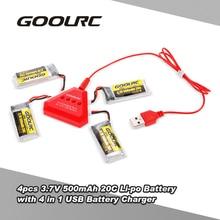 4 pcs GoolRC 3.7 V 500 mAh 20C Li-po Bateria com 4 em 1 U4 Carregador Rápido Inteligente para GoolRC T33 JJR/C H43WH Zangão Quadcopter