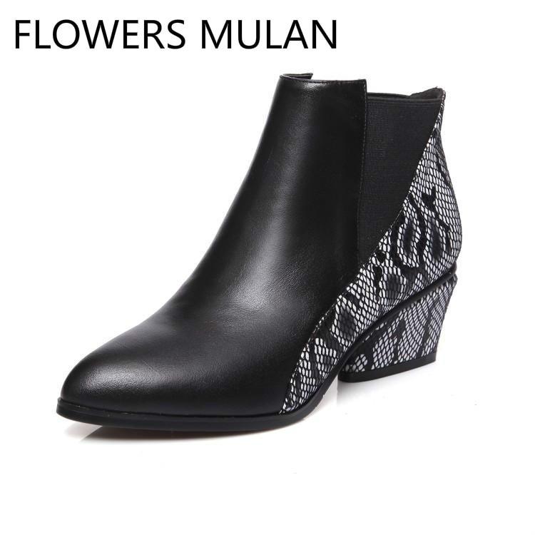 Patchwork De Cuñas Botas Moda Zapatos Invierno Tacones Color Para Mezclado Cuero Pie Serpiente Mujeres Negro Punta Mujer Del Tobillo qtHtf