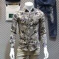 Осень новое прибытие с длинными рукавами рубашки вскользь все матч мужской эстетическое печати футболки тонкий рубашку с длинными рукавами