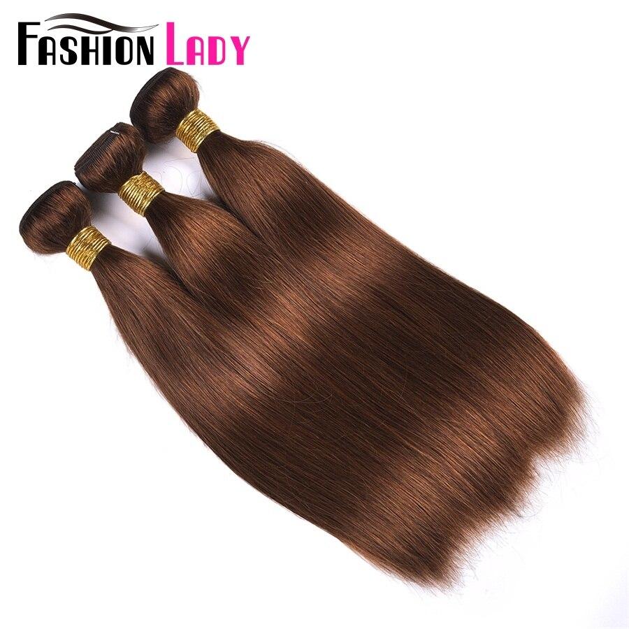 Image 3 - FASHION LADY Pre Colored One Piece Brazilian Straight Hair 100% Human Hair Weave #4 Medium Brown Human Hair Bundles Non RemyHair Weaves   -
