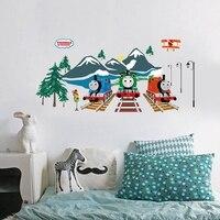 Мультяшные настенные Стикеры с рисунком поезда, настенные наклейки для детской комнаты, постер для гостиной, ПВХ Наклейки 60x90 см CP0561