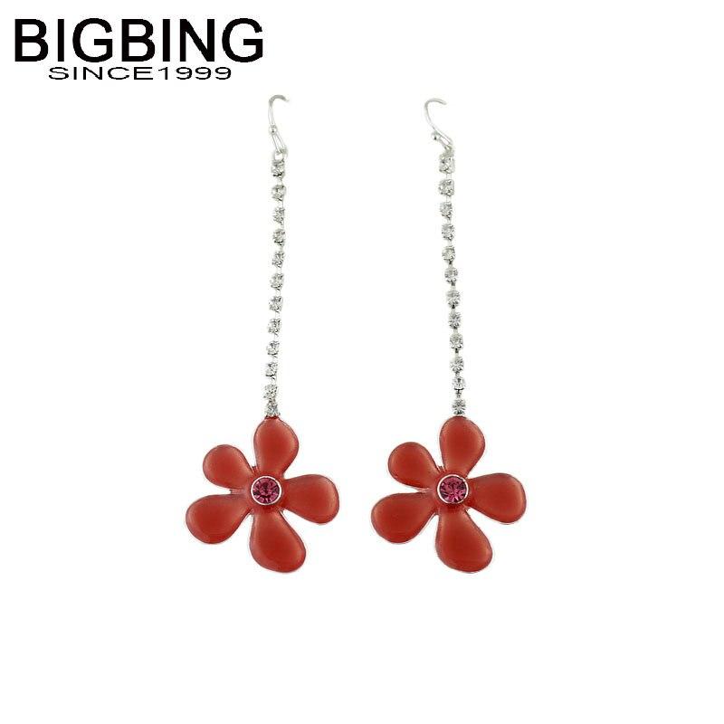 Drop Earrings Dependable Bigbing Jewelry Fashion Red Flower Silver Crystal Chain Earrings Fashion Jewelry Earring Good Quality S147 Jewelry & Accessories