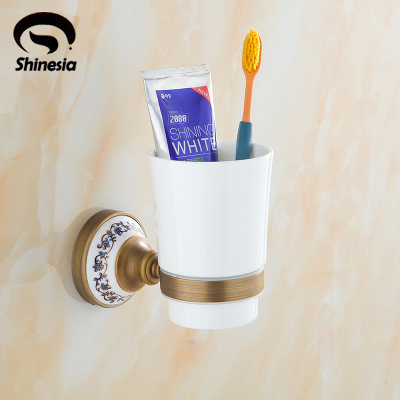 Antique Brass Single Ceramic Cup + Blue and White Porcelain Toothbrush Holder Bathroom Accesssories Wall Mounted цены