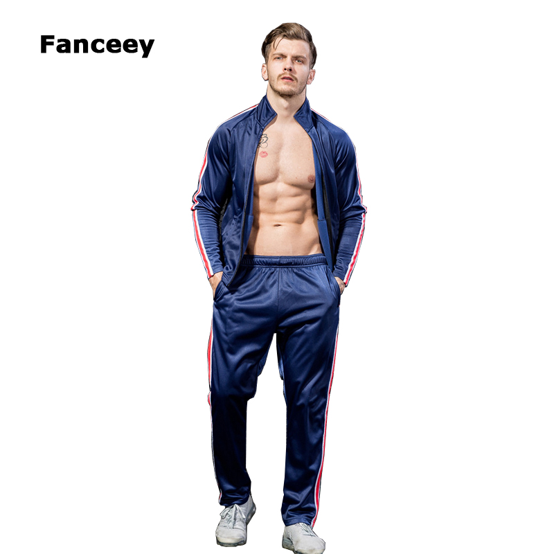 Fanceey 2019 Sports Suit Tracksuit Men Side Strip Outdoor Mens Sports Suits Sportswear Man Fitness Suit Gym Clothing Running Set-in Running Sets from Sports & Entertainment    1