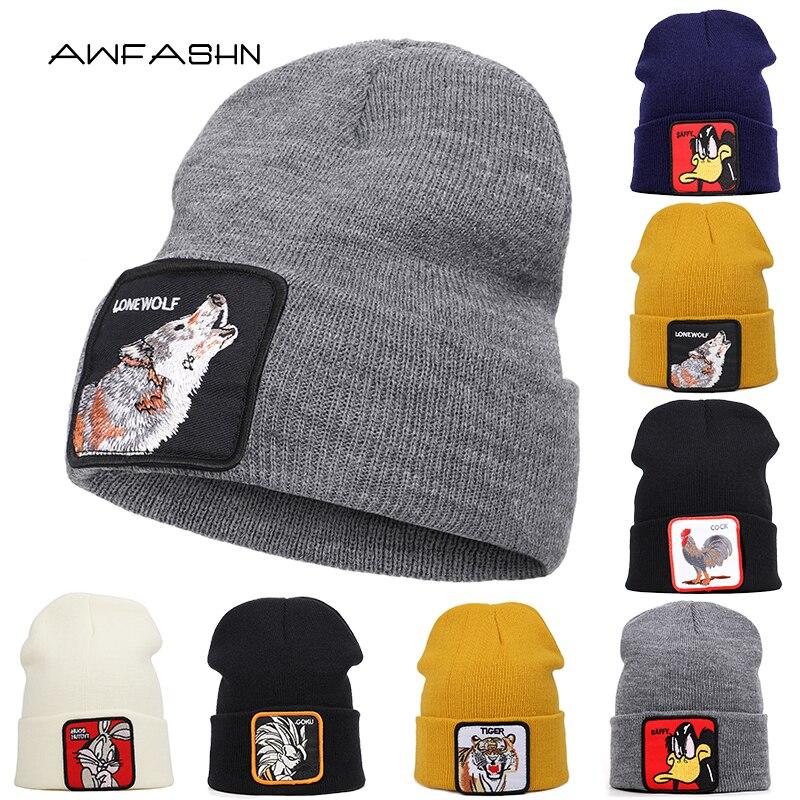 Knit Beanie Dragon-Ball-Bonnet Warm-Hat Embroidery Skullies Animal Winter Unisex Women