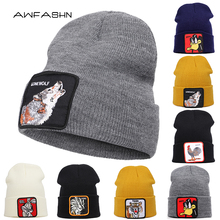 2019 New Fashion Winter Animal Embroidery Knit Beanie Women Men Warm Hat Hip Hop Cap Unisex Soft Skullies Dragon Ball Bonnet