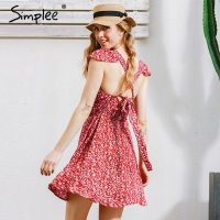 Simplee Backless Navy Floral Print Short Dress Women Back Strap High Waist Summer Dress Vintage Red