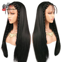 Brazilian 150%Density 360 Lace Frontal Wig With Baby Hair Pre Plucked Straight Front Human Wigs For Women