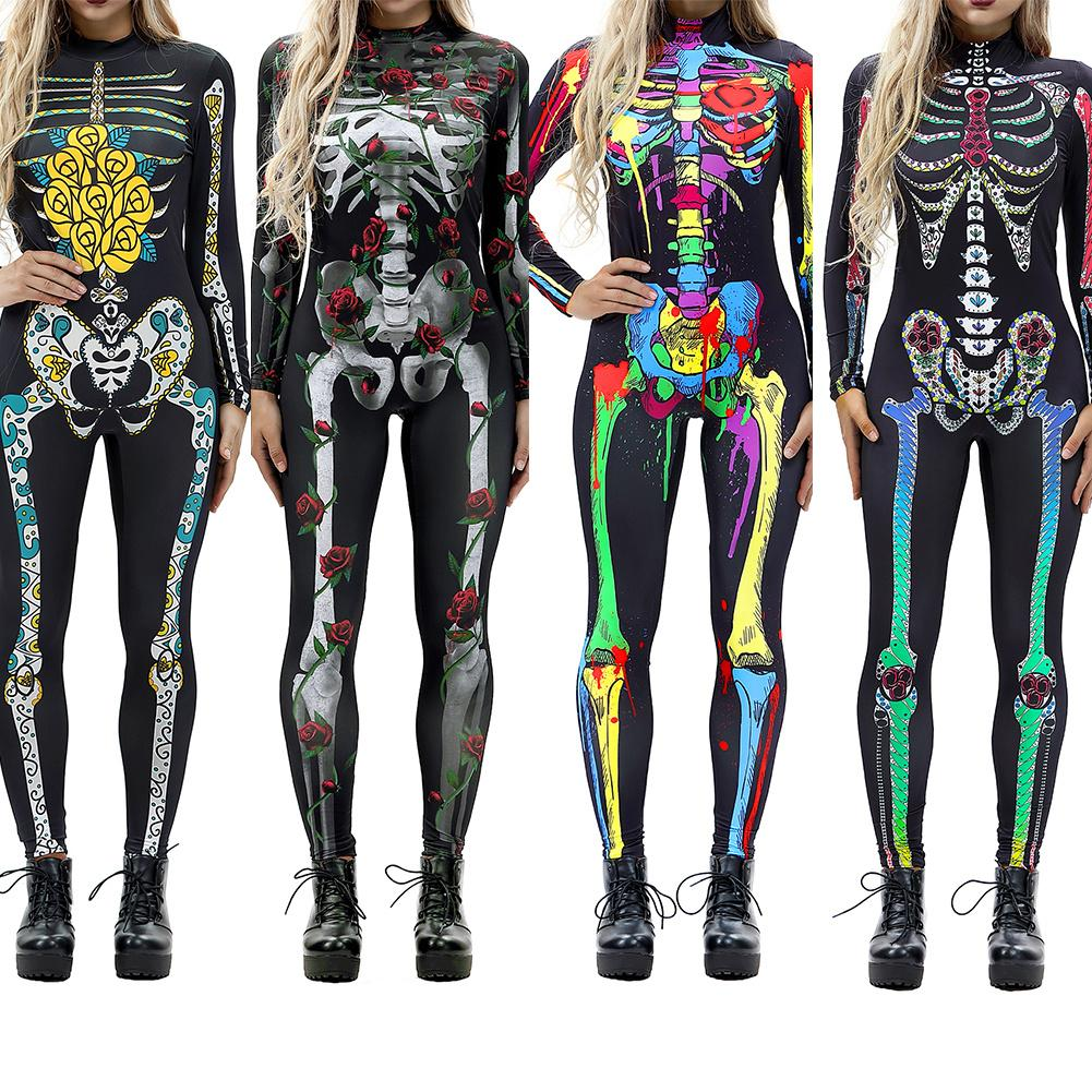 Halloween Costumes For Women Horror Zombie Costume Female Sexy Skeleton Costume Halloween Clothes Jumpsuit Bodycon S XL-in Scary Costumes from Novelty & Special Use