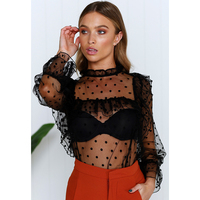 Polka Dot Printed See Through Mesh Blouse Shirt Women Summer Turtleneck Petal Sleeve Ruffle Blouses Cold