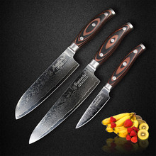 SUNNECKO 3PCS Kitchen Knives Set Japaness VG10 Steel Blade Strong Hardness Santoku Chef Paring Damascus Knife Pakka Wood Handle