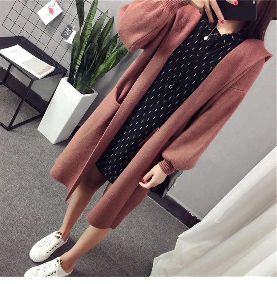 Autumn Winter Women Long Cardigans Hooded Sweaters Casual Knitted Outwear Puff Sleeves for Fashion Girls Female Warm Clothing (14)