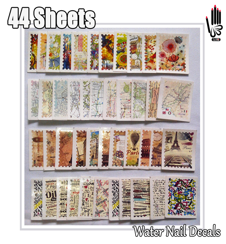 Nail Art 44Sheets/Lot Mixed Letter Scenic Painting Map Stamp Full ...