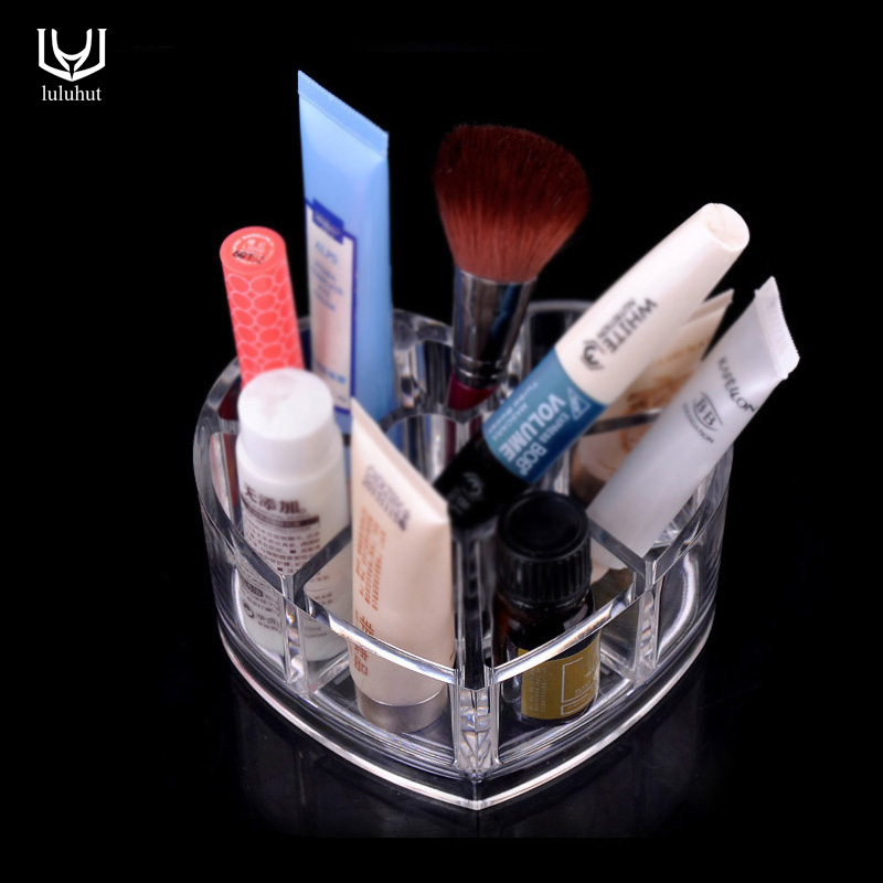 luluhut acrylic makeup organizer heart shape desk accessories organizer lipstick Brush plastic storage desktop box jewelry box