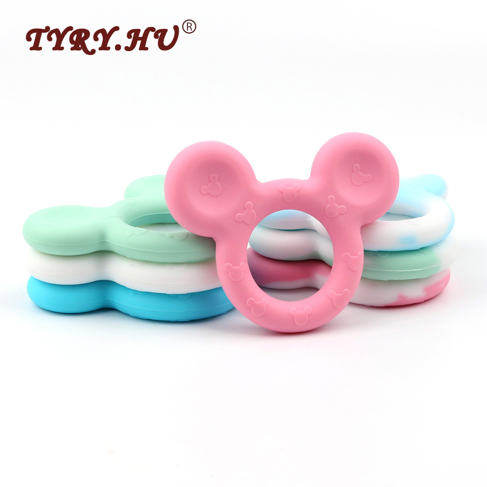 TYRY.HU Baby Silicone Teether Mouse Head Beads Pendant 10pc Cute Teething Chew Toys For Baby Newborn Dental Care Tooth Training